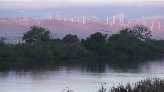 river & windmills - wiese stock videos & royalty-free footage