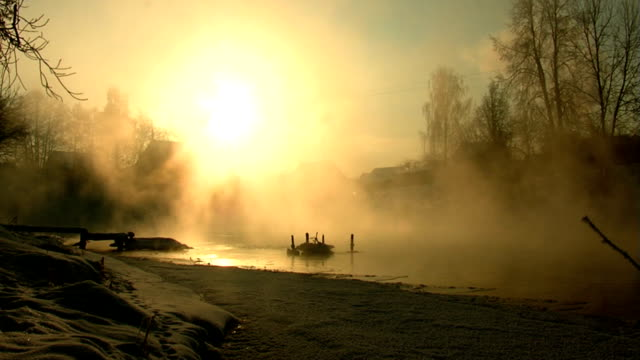 river. winter. morning. fog. - fantasy stock videos & royalty-free footage