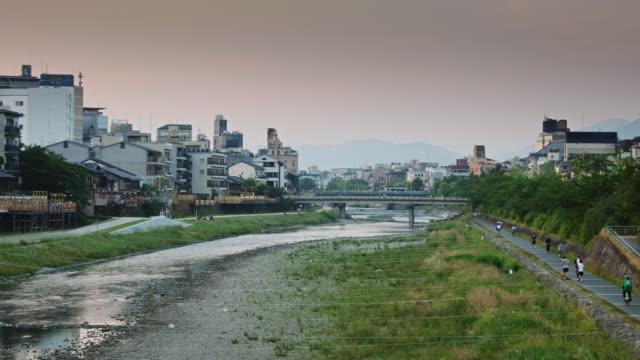 riverbank paths in kyoto - kyoto stock videos and b-roll footage