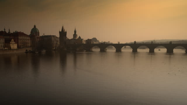riverlife around the charles bridge in prague - charles bridge stock videos & royalty-free footage