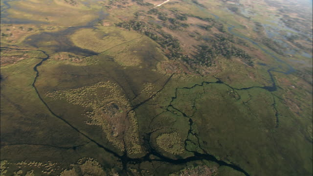 Rivers, lakes, and swamps spread across the Okavango Delta in Botswana. Available in HD.