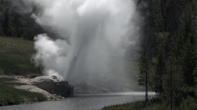 riverside geyser erupting at edge of firehole river. - bbc stock videos and b-roll footage