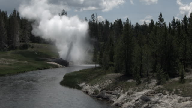 Riverside geyser erupting at edge of Firehole river.
