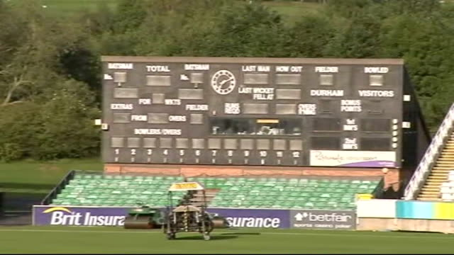Durham The Riverside Ground EXT Stands and cricket field and covered wicket Scoreboard Stand and pavilion Durham castle More of cricket pitch