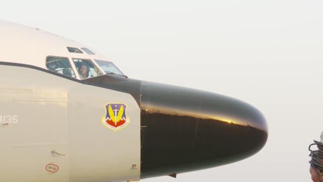 rivet joint reconnaissance aircraft flight operations at al udeid ab qatar - afterburner stock videos and b-roll footage