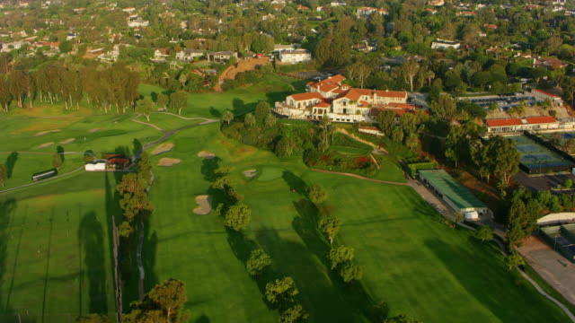 aerial riviera country club in pacific palisades in los angeles, ca - pacific palisades stock videos & royalty-free footage
