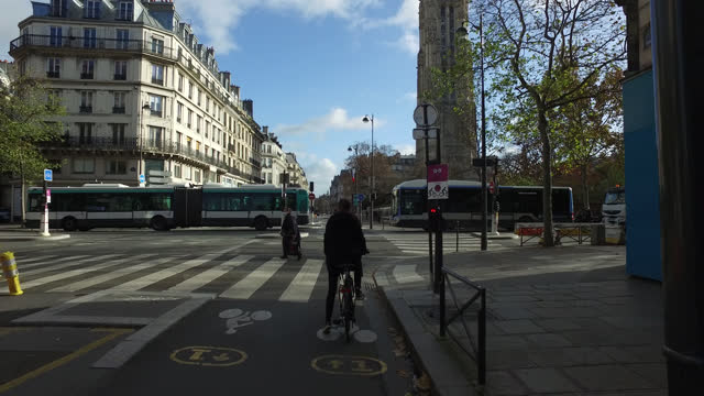 rivoli street, routet and cycle path in paris, france. france has imposed another national lockdown for a minimum of four weeks as the number of... - beauty stock videos & royalty-free footage