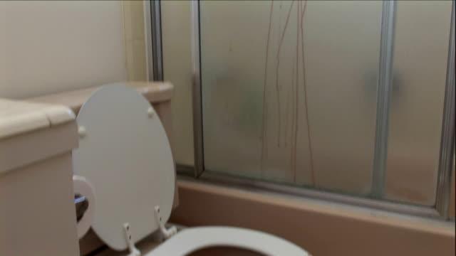 vidéos et rushes de rivulets of blood streak a shower door and smear a toilet seat. - blood