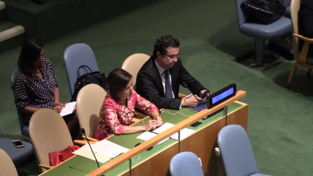 riyad mansour the palestinian representative to the un speaks after the un general assembly adopted a resolution on september 10 2015 that will allow... - 2015点の映像素材/bロール
