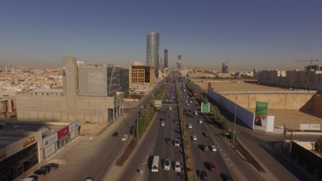 riyadh drone aerials; king fahd road, saudi arabia - riyadh stock videos & royalty-free footage