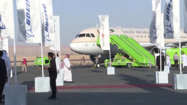 riyadh hosts saudi international airshow with the participation of more than 750 exhibitors - airshow stock videos & royalty-free footage