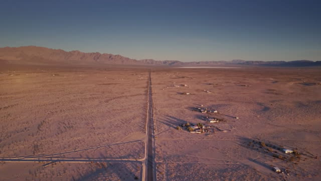 Road Across Bare Desert, Twentynine Palms - Aerial Shot