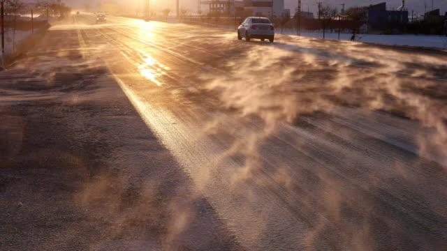 Straße und Schnee Sturm