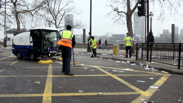 ms road cleaning by road sweeper / london, england, great britain  - cleaner stock videos & royalty-free footage