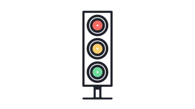 vidéos et rushes de road conditions ligne plate icône animation avec alpha - feu de signalisation pour véhicules