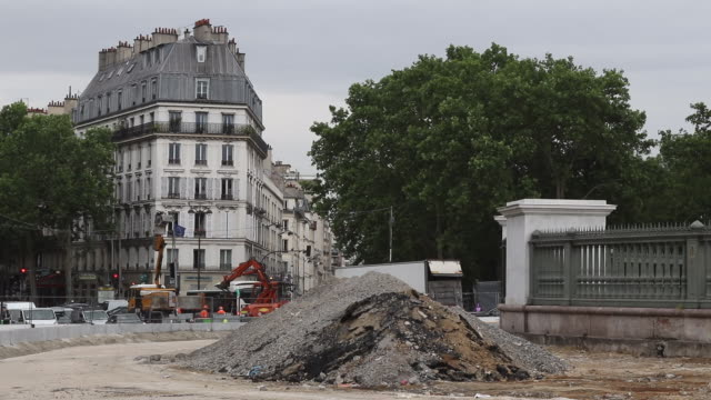 road construction in the city. a construction site in the street, renovation of a road - bastille stock-videos und b-roll-filmmaterial
