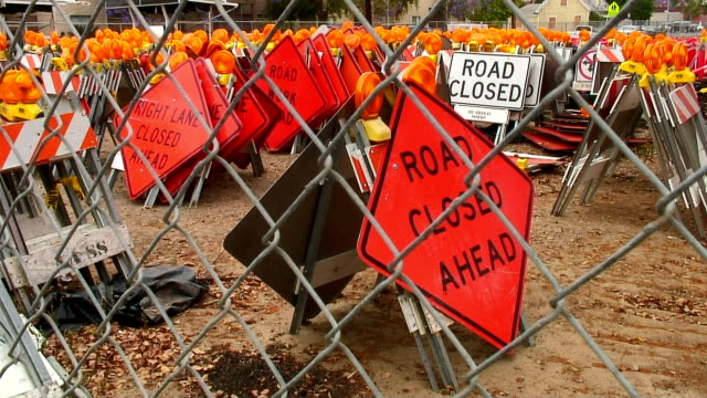 road construction signs - road closed sign stock videos & royalty-free footage