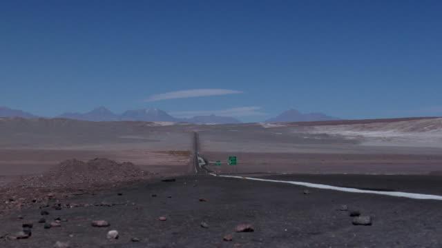 WS ZO Road crossing desert landscape, San Pedro de Atacama, El Loa, Chile