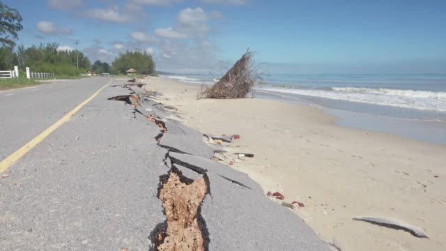 road damaged by erosion - earthquake stock videos & royalty-free footage