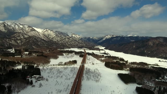 road in a village in winter - takashima shiga stock videos & royalty-free footage