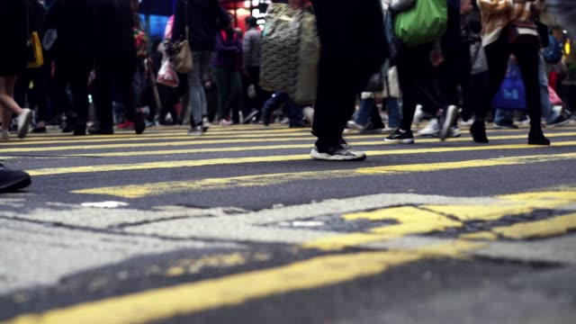 road in central hongkong, pedestrian crossing - pedestrian stock videos & royalty-free footage