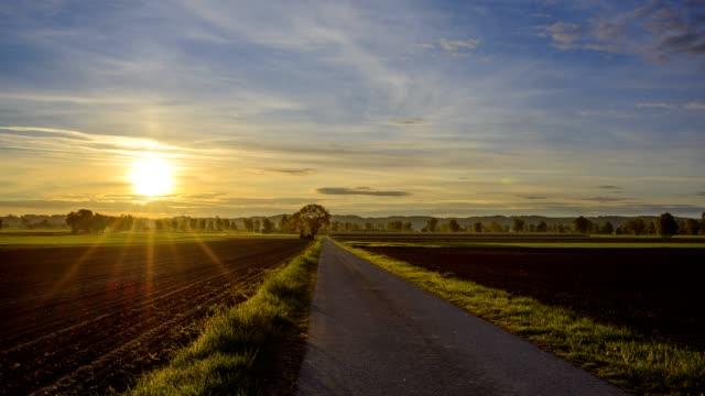 road in countryside at sunrise, mindelheim, bavaria, germany - standbildaufnahme stock-videos und b-roll-filmmaterial