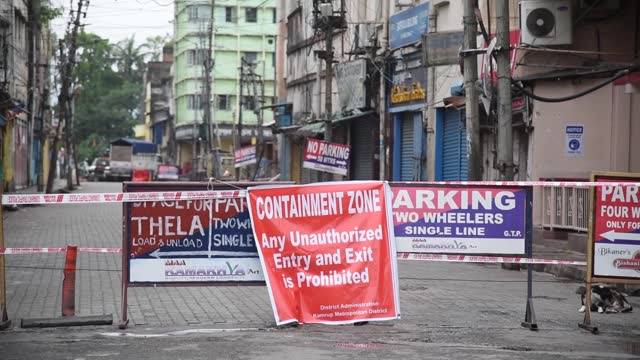 road in fancy bazar sealed and declared containment zone, after a person was tested positive for novel coronavirus, during the nationwide covid-19... - barricade stock videos & royalty-free footage