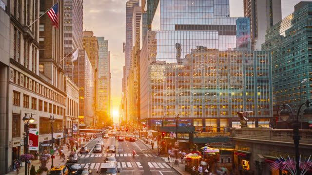 42 road in sunset time - new york city stock videos & royalty-free footage