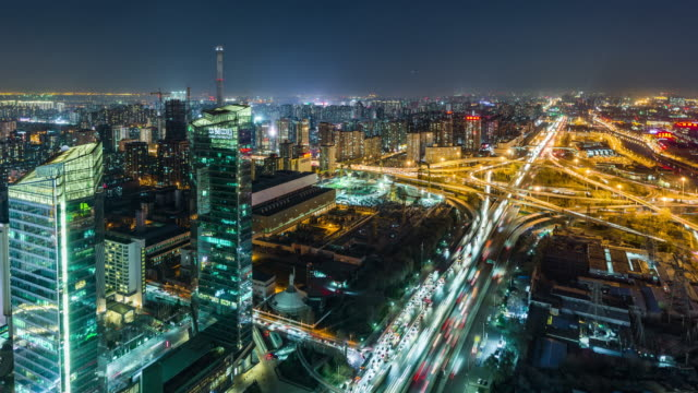 T/L WS HA パン道路の交差点、高架夜/四会市橋、北京、中国