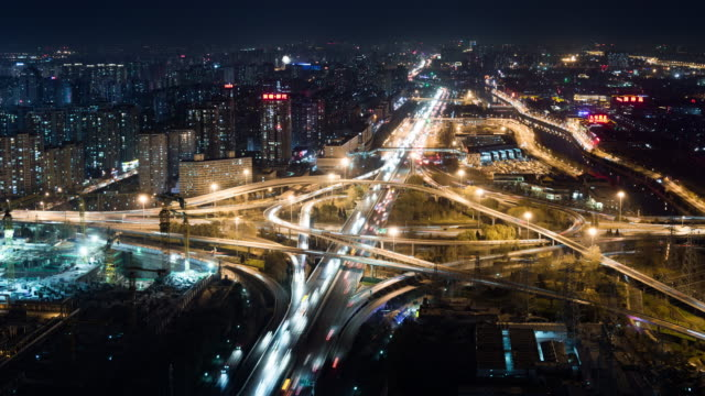 t/l ws ha pan road intersection at night / beijing, china - beijing municipality stock videos and b-roll footage
