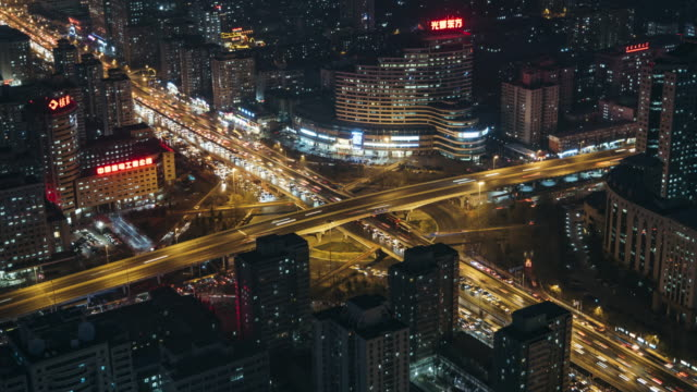 T/L MS HA Road Intersection at Night / Beijing, China