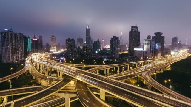 T/L WS HA Road Intersection at Night / Shanghai, China