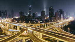 T/L PAN Road Intersection at Night / Shanghai, China