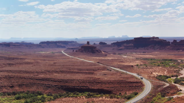 road into monument valley - drone shot - native american reservation stock videos & royalty-free footage