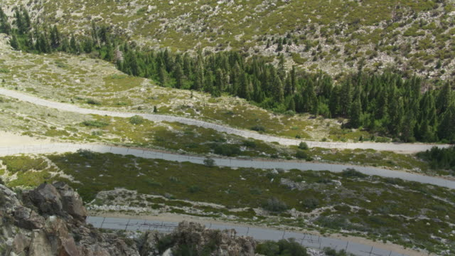 road into the owens valley from the high sierra peaks - aerial shot - wilderness area stock videos & royalty-free footage