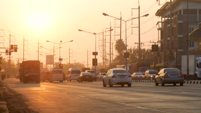 Road Junction at Sunrise in Rural Area