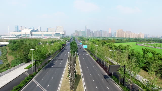 road junction in modern city - hangzhou stock videos & royalty-free footage