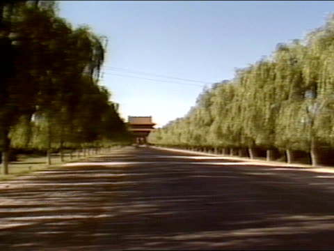 ls road leading to great red gate pan 180 ls road lined w/ ming dynasty carved animal sculptures single stone carvings - ming tombs stock videos and b-roll footage