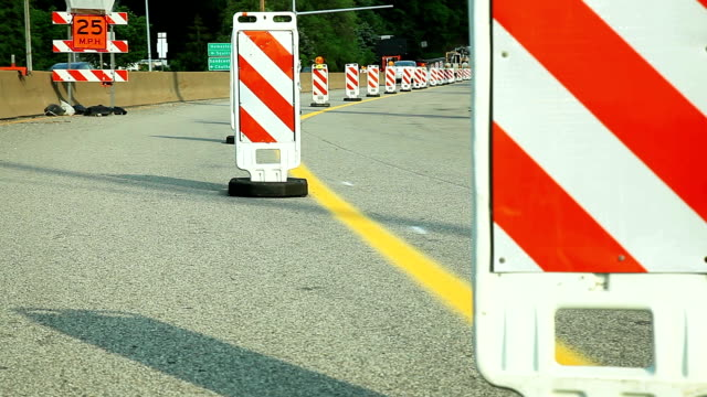 road on reconstruction signes and marks. - road construction stock videos and b-roll footage