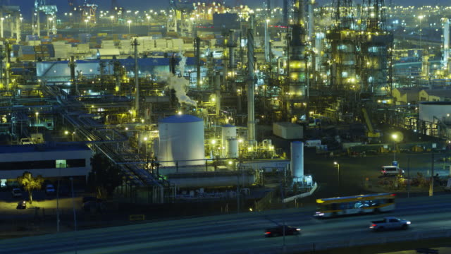 Road Passing Oil Refinery - Drone Shot