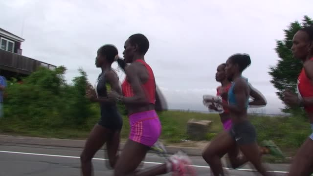 Road Racing The Great American Road Race an annual event on Cape Cod along Martha's Vineyard Sound Top elite female runners lead pack