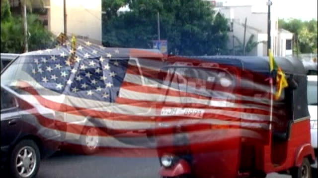 road scenes ** us stars and stripes flag overlaid ** - sri lankan flag stock videos & royalty-free footage