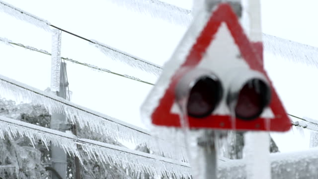 road sign encapsulated in glaze ice - frost stock videos & royalty-free footage