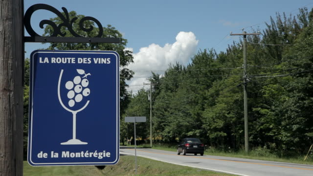 Road sign for Canadian wine route
