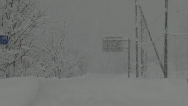 road sign in heavy snow, fukushima, japan - gauge stock videos & royalty-free footage