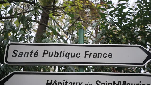 road sign indicates the direction of 'sante publique france' head office on december 2 in saint maurice, france. the agency is responsible among... - entrance sign stock videos & royalty-free footage