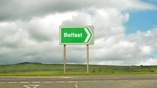 road sign to belfast. - belfast stock videos & royalty-free footage
