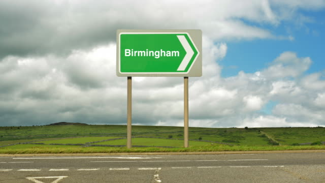 road sign to birmingham. - birmingham england stock videos & royalty-free footage