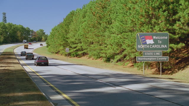 road sign - welcome to north carolina - welcome sign stock videos & royalty-free footage
