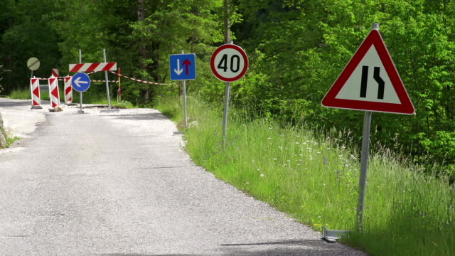 Road signs alerting of road work ahead